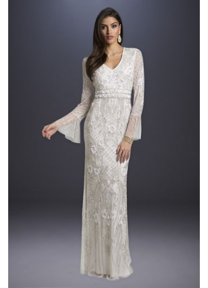 Long Sheath Boho Wedding Dress - Lara