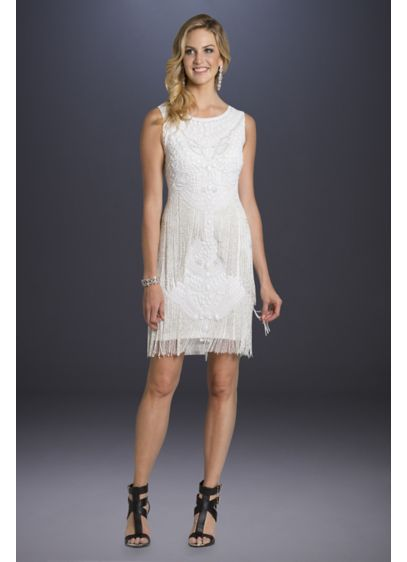 Lara Adelaide Beaded Fringe Short Wedding Dress - Tonal stones and strands of beaded fringe create