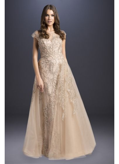 Beaded Tulle Cap Sleeve A-Line Wedding Dress - Topped with an asymmetrical overskirt, this cap-sleeve tulle