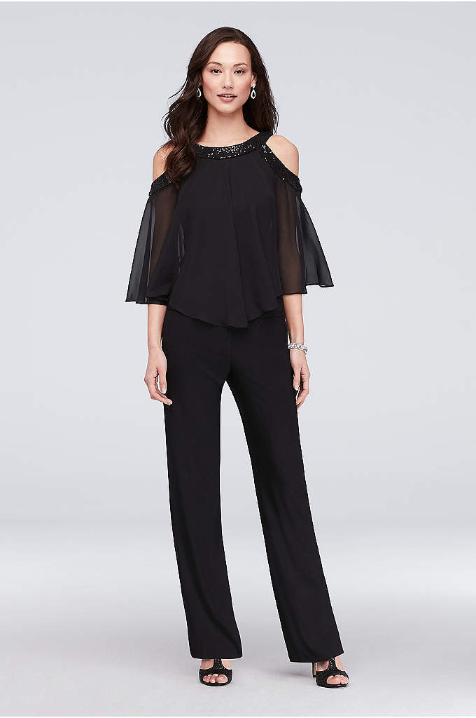 Sequin Cold-Shoulder Two-Piece Jersey Pants Set - Style and comfort meet on this two-piece pants