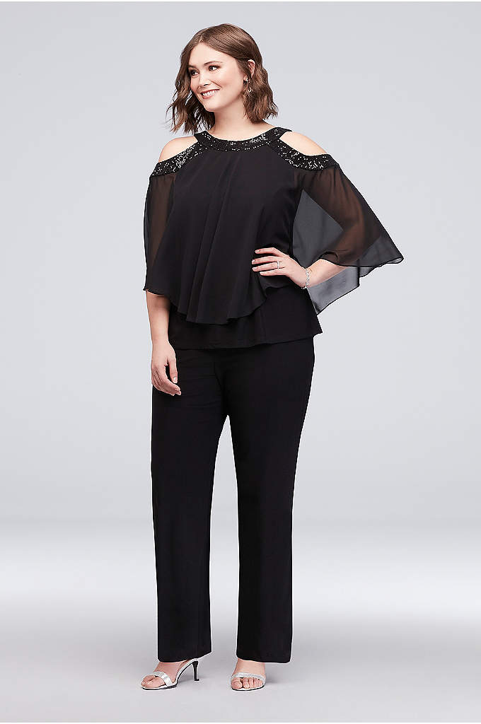 Beaded Cold-Shoulder Two-Piece Plus Size Pants Se - Style and comfort meet on this two-piece plus-size