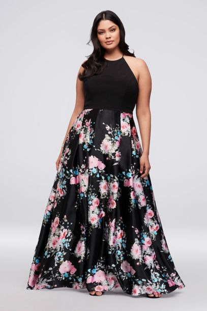Jersey And Floral Satin Plus Size Halter Ball Gown Davids Bridal