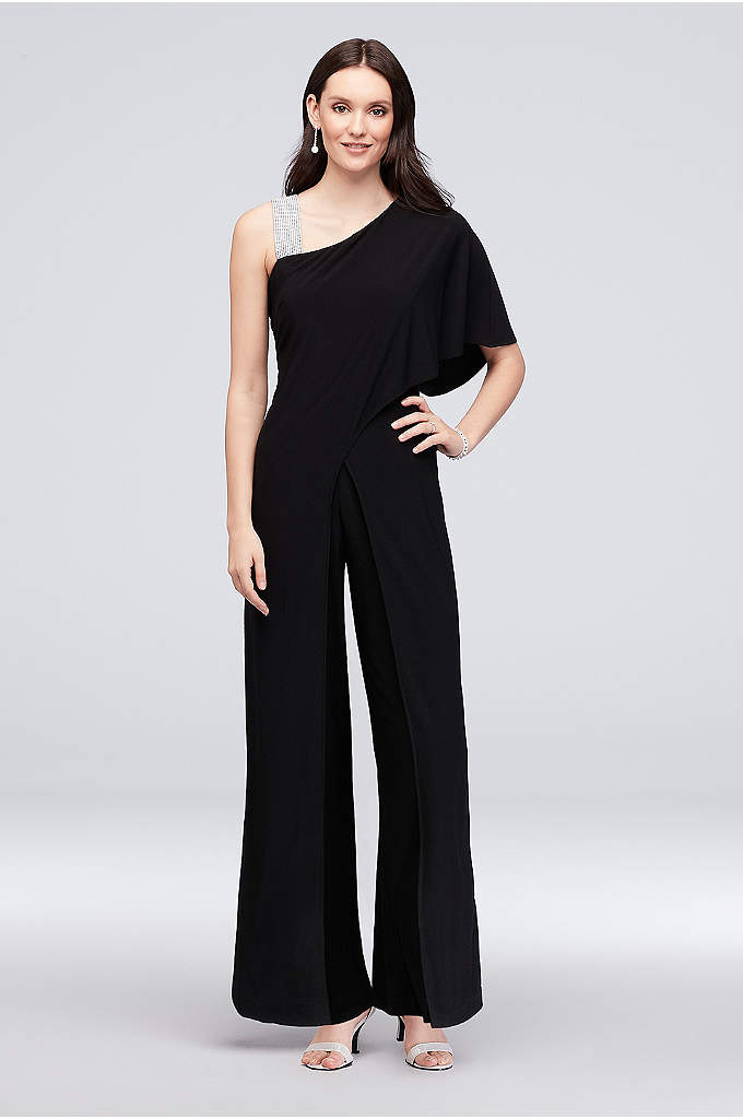 One-Shoulder Jersey Jumpsuit with Overskirt - Adorned with a crystal-embellished strap and finished with