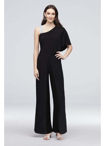 Long Jumpsuit One Shoulder Cocktail and Party Dress - RM Richards