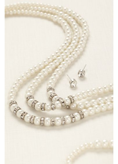 Three Row Pearl and Pave Rhinestone Set - Wedding Accessories
