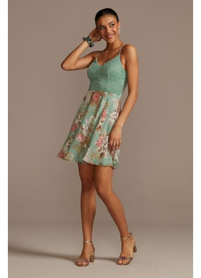 Glitter Lace Mini Dress with Floral Chiffon Skirt - This skater dress pairs a glittery lace bodice