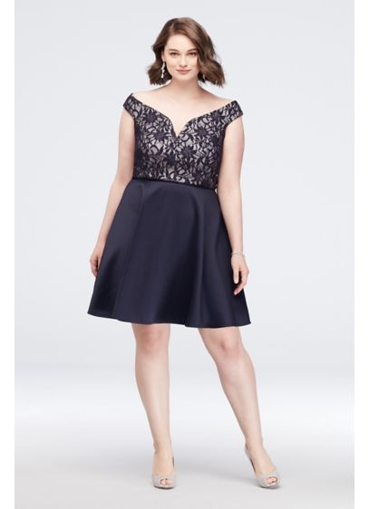 V-Neck Bonded Lace Fit-and-Flare Plus Size Dress