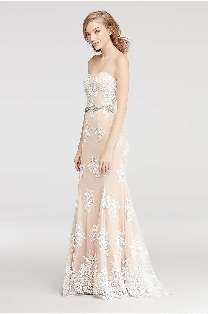 Mermaid Lace Applique Prom Dress with Beaded Waist