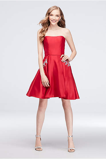 Satin Sweetheart Party Dress with Crystal Pockets