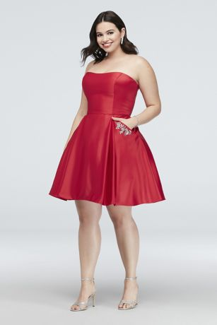 Red Formal Plus Size Cocktail Dresses