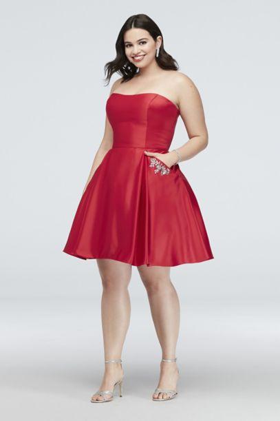 Satin Plus Size Party Dress With Crystal Pockets Davids Bridal