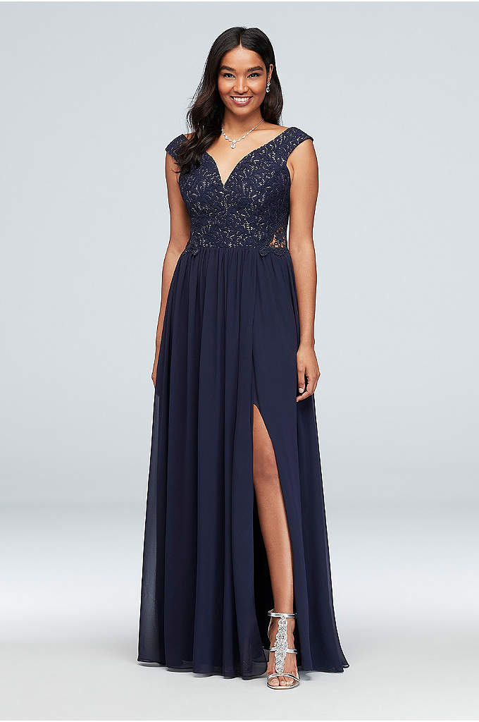 Off-the-Shoulder Metallic Lace and Chiffon Gown - Woven glittering metallic threads, the lace bodice of