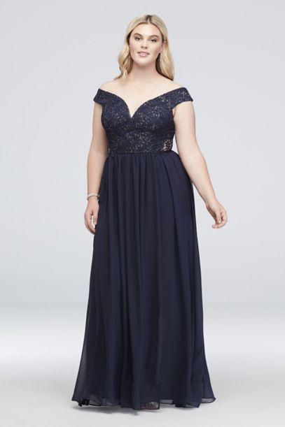 Off The Shoulder Metallic Lace Plus Size Gown David S Bridal