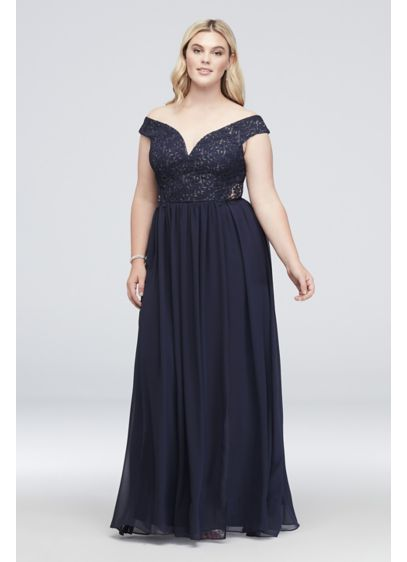 Off-the-Shoulder Metallic Lace Plus Size Gown
