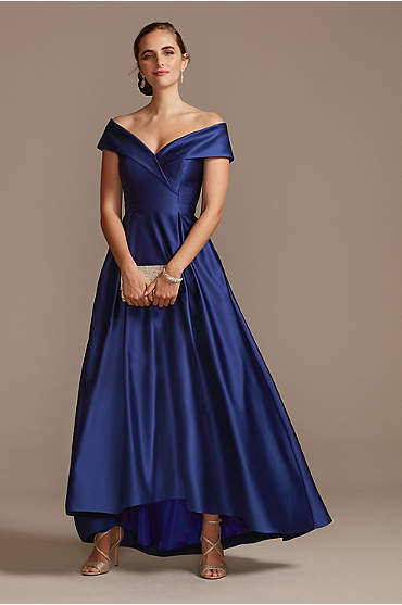 Satin Off the Shoulder Gown with Portrait Collar