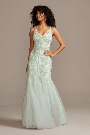Long Mermaid / Trumpet Spaghetti Strap Dress - Xscape