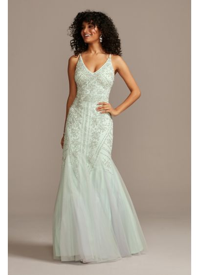 Beaded V-Neck Mermaid Gown with Tulle Godets - An intricate motif of metallic beads and pearls