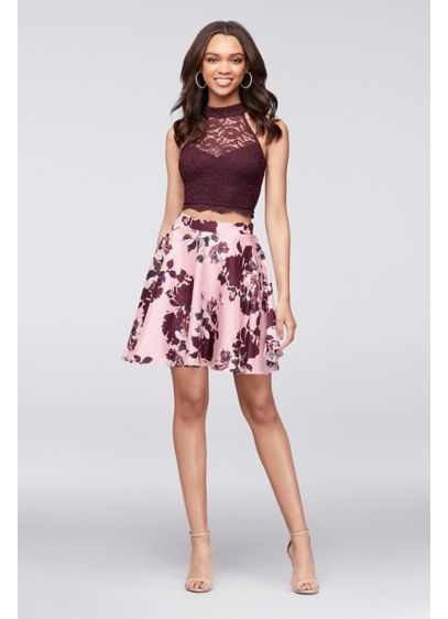 e2b297b58e0 Lace Crop Top and Printed Skater Skirt Set