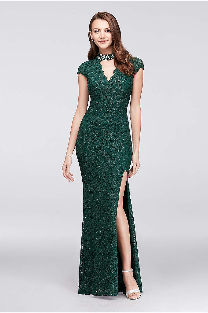 Glitter Lace Mermaid Gown with Gem Neckline - A dazzlingly beaded cutout neckline adds an uniquely