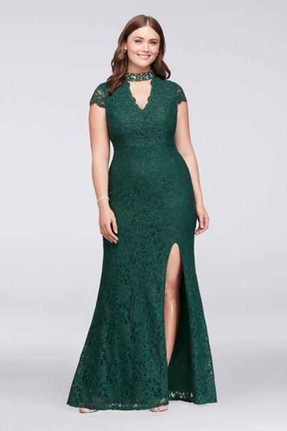 glitter lace plus size gown with gem neckline davids bridal