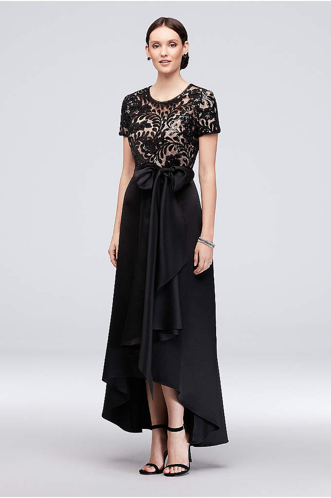 Stretch Satin High-Low A-Line Dress with Sequins