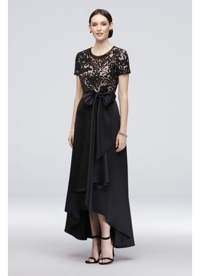 2fa1a444b1 Stretch Satin High-Low A-Line Dress with Sequins. 3492. Long Black  Structured RM Richards Bridesmaid Dress