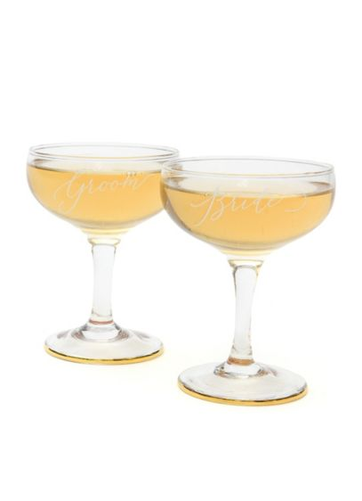 Bride and Groom Toasting Coupes Set - Raise a glass to your newly changed status