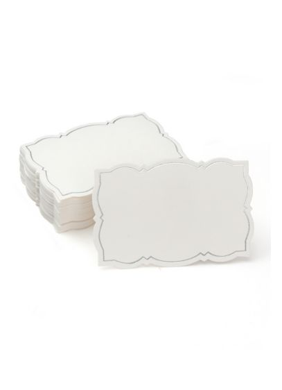 Silver Foil Border Place Cards - Featuring an ornate silver-foil border, this set of