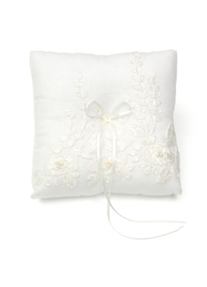 Embroidered Ring Pillow with Faux Pearls - Embroidered with tonal thread an embellished with faux
