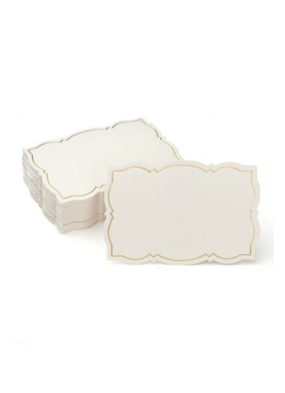 Gold Foil Border Place Cards - Featuring an ornate gold-foil border, this set of