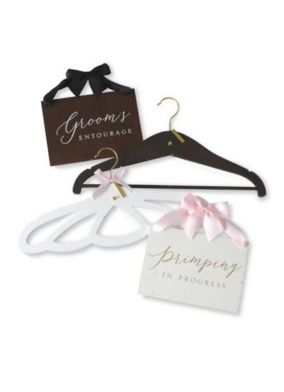 Bride and Groom Hanger and Sign Set - Hang the bride's dress or the groom's tux