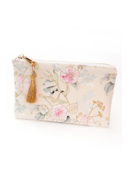 (Tassel Pull Floral Makeup Bag)