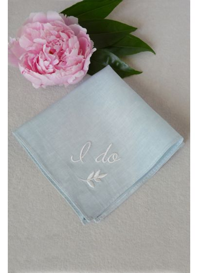 Something Blue I Do Handkerchief - This pretty blue cotton handkerchief features the phrase