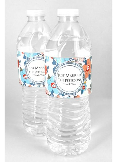 Personalized Floral Water Bottle Labels Set of 5 - Wedding Gifts & Decorations
