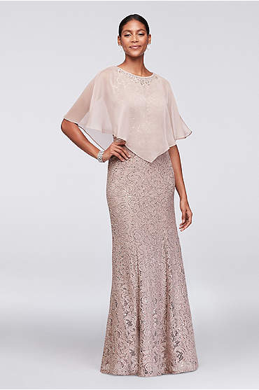 Lace Mermaid Dress with Beaded Chiffon Capelet