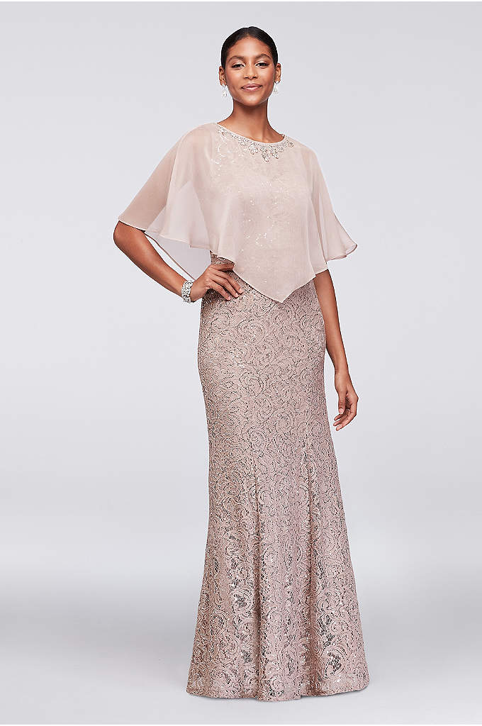 Lace Mermaid Dress with Beaded Chiffon Capelet - Topped with a crystal-embellished sheer chiffon capelet, this