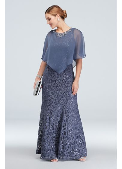 Ignite Purple (Mermaid Lace Dress with Beaded Chiffon Capelet)