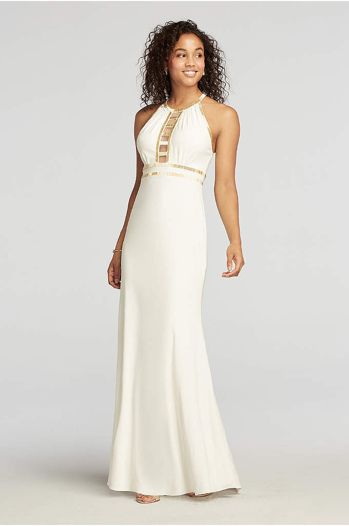 Beaded Halter Prom Dress with Cut Outs
