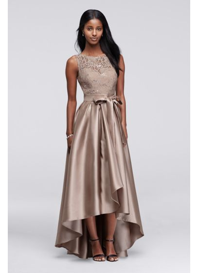 526c307c Lace Sequin Dress with Mikado Skirt. 3552DB. High Low Ballgown Wedding Dress  - Ignite