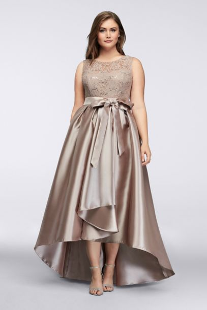 Sequined Lace Dress With Mikado Skirt Davids Bridal