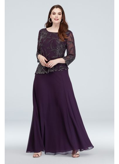 Asymmetric Hem Beaded Floral Plus Size Dress - This beautiful gown features lifelike beaded flowers along
