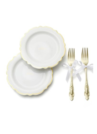 Our Wedding Gilded Cake Plate and Fork Set - Including two plates adorned with the phrase