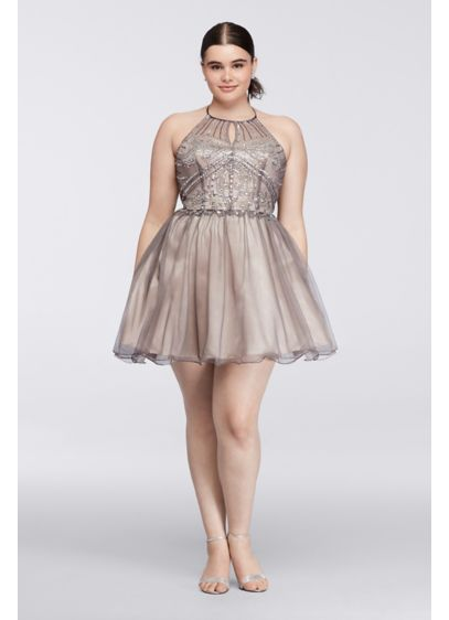 Short Ballgown Halter Cocktail and Party Dress - Steppin Out