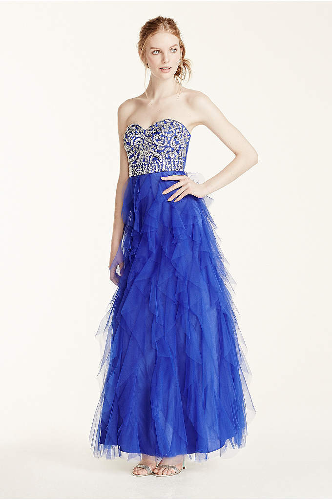 Cascading Ruffle Tulle Prom Dress with Crystals