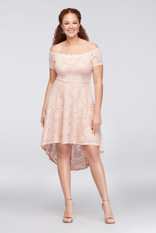 Off-the-Shoulder Lace High-Low Plus Size Dress | David\'s Bridal