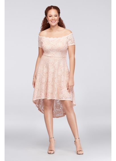 Off-the-Shoulder Lace High-Low Plus Size Dress - Sweet and simple, this off-the-shoulder, stretch-lace plus-size dress
