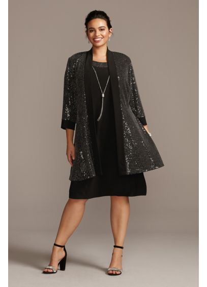 Metallic Open Front Plus Size Blazer and Dress - Take your party look to dazzling heights in