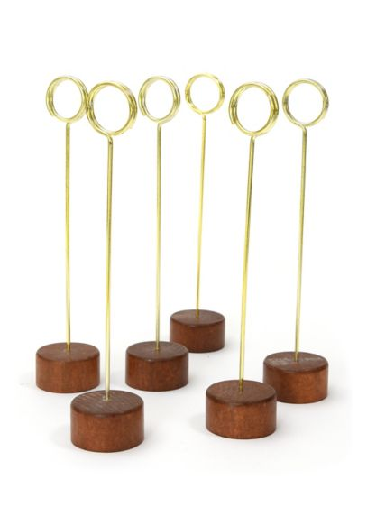 Wood and Gold Table Number Stand Set - Crafted of wood and gold-tone metal, this set