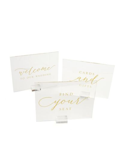 Gold Foil Clear Sign Set - Gold foil script adorns this set of three