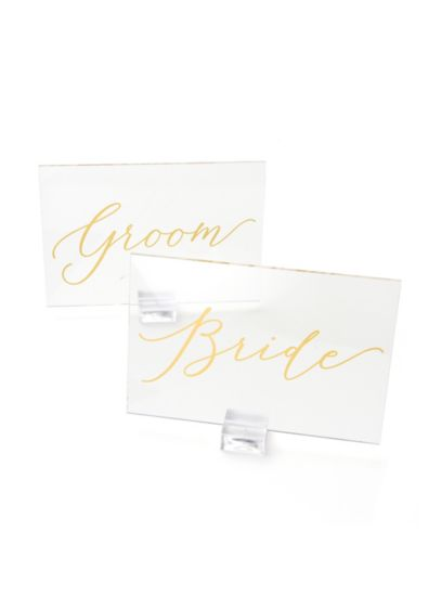 (Clear and Gold Foil Bride and Groom Signs)